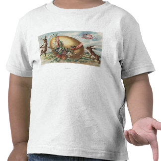 Easter GreetingsRabbits by a Decorated Egg T Shirt