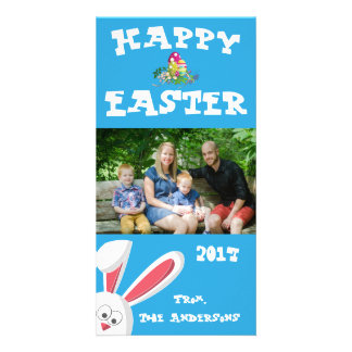 Easter Happy Easter Blue Rabbit Family Photo Card