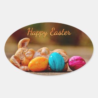 "Easter - ""Happy Easter"" - Sleepy Bunny/Eggs Oval Sticker"