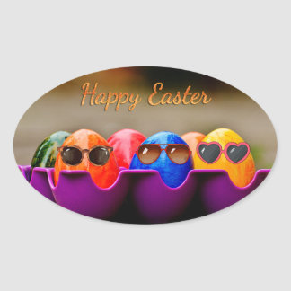 """Easter - """"Happy Easter"""" - Smiley Bunny/Eggs Oval Sticker"""