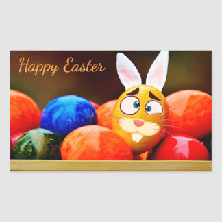 "Easter - ""Happy Easter"" - Smiley Bunny/Eggs Rectangular Sticker"
