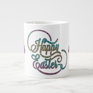 """Easter - """"Happy Easter"""" with Bunnies Glitter Jumbo Mug"""