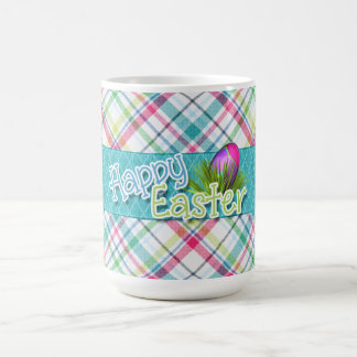 "Easter - ""Happy Easter"" Word Art on Stripes Coffee Mug"