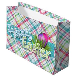 "Easter - ""Happy Easter"" Word Art on Stripes Large Gift Bag"