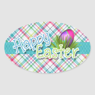 "Easter - ""Happy Easter"" Word Art on Stripes Oval Sticker"