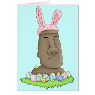 Easter Island Bunny Parody Greeting Card