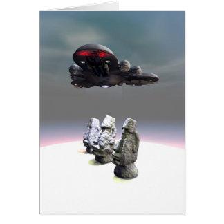Easter Island Heads and UFO Card