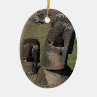 Easter Island Heads Ceramic Oval Decoration