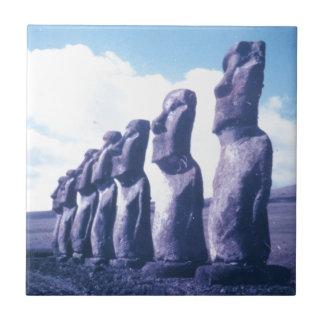 Easter Island Moai Heads Small Square Tile