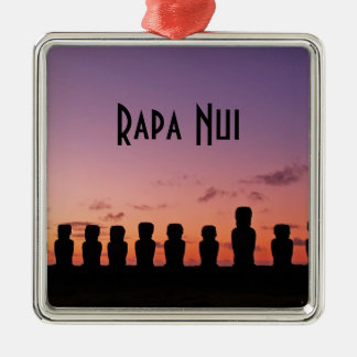 Easter Island Rapa Nui  Chile South America Silver-Colored Square Decoration