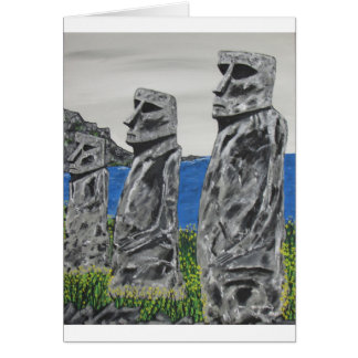 Easter Island Stone Men Card