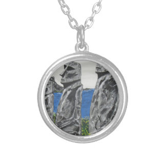 Easter Island Stone Men Silver Plated Necklace