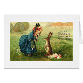 Easter Joys Card Victorian Girl & Doll