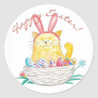 Easter Kitty // Happy Easter Round Sticker
