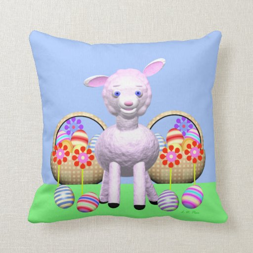 Easter Lamb and Baskets Throw Pillows