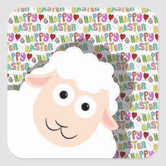 Easter lamb square sticker
