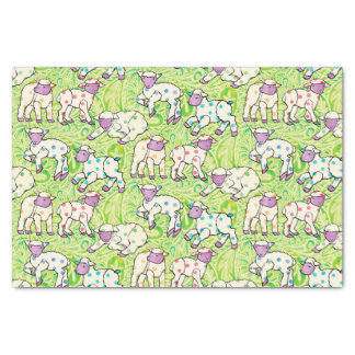 Easter Lambs Pattern on Paisley Tissue Paper