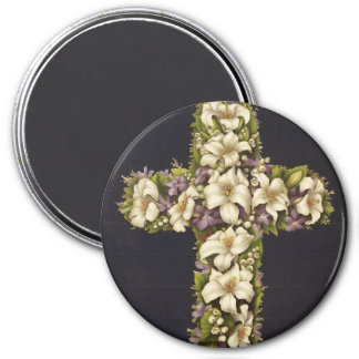 Easter Lily Cross 7.5 Cm Round Magnet