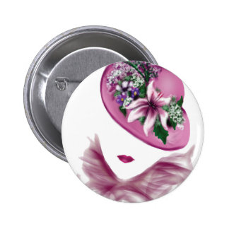 easter lily hat lady.jpg 6 cm round badge