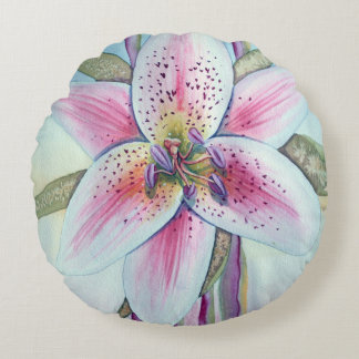 Easter Lily Watercolor Round Cushion