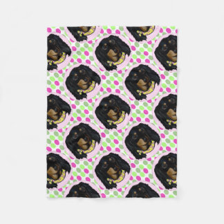Easter Long Haired Black Dachshund Fleece Blanket