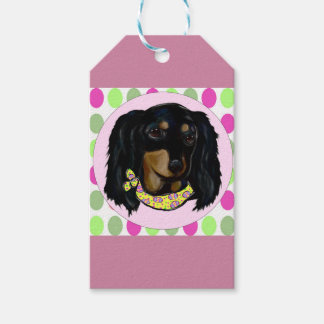 Easter Long Haired Black Dachshund Gift Tags