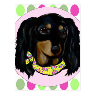 Easter Long Haired Black Dachshund Postcard