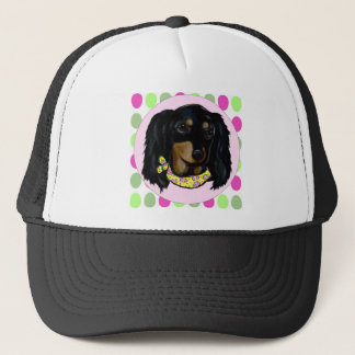 Easter Long Haired Black Dachshund Trucker Hat