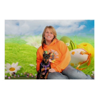 Easter - Min Pin - Zena and Gidget Poster