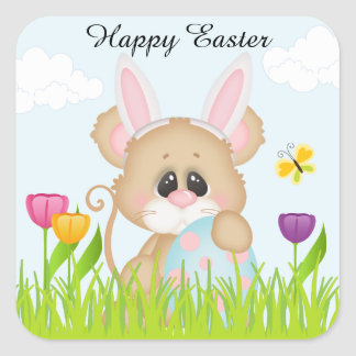 Easter Mouse in Bunny Ears Square Sticker