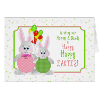 Easter -  Mummy & Daddy - Bunnies & Balloons Card