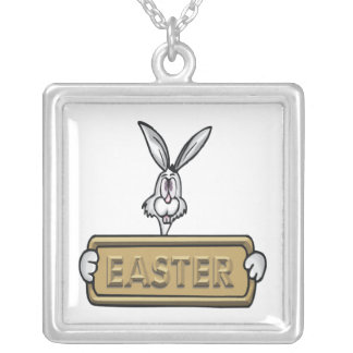 Easter Square Pendant Necklace