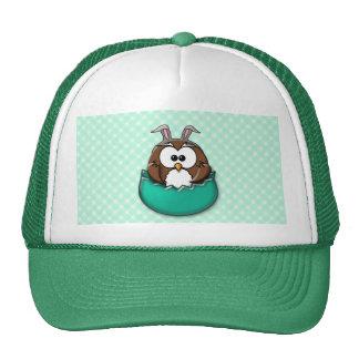 Easter owl gingham - green cap