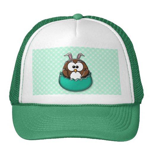 Easter owl gingham - green mesh hats