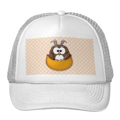 Easter owl gingham - orange mesh hat