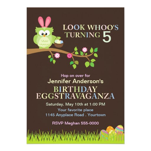Easter Owl with Bunny Ears Birthday Invitation