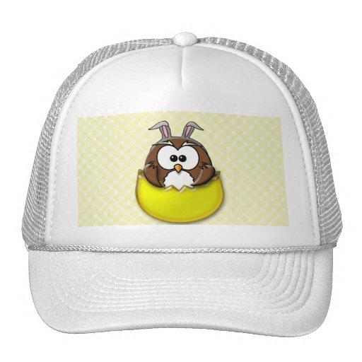 Easter owl - yellow mesh hat
