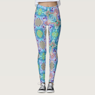 Easter Pansy Geometric Leggings