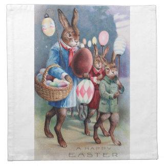 Easter Parade Napkins Antique Dressed Bunnies Egg