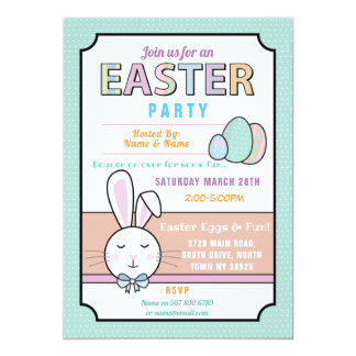 Easter Party Bunny Egg Hunt Invitation Mint