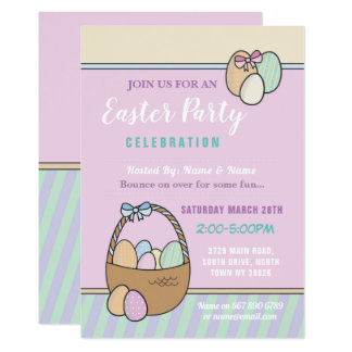 Easter Party Bunny Egg Hunt Invitation Pink