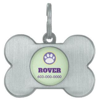 Easter Pastel Dog Paw Print Pet ID Tag