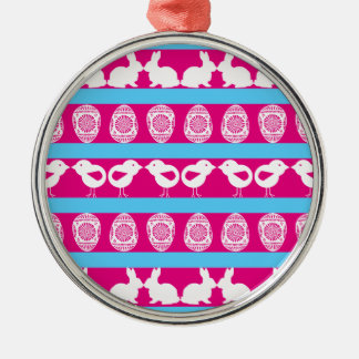Easter pattern. Any background color Metal Ornament