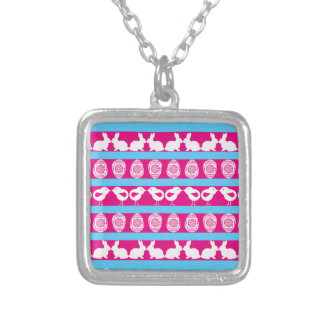 Easter pattern. Any background color Silver Plated Necklace