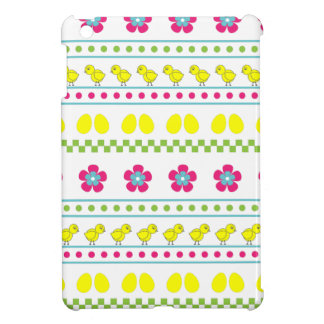 Easter pattern with chiken and eggs on white case for the iPad mini