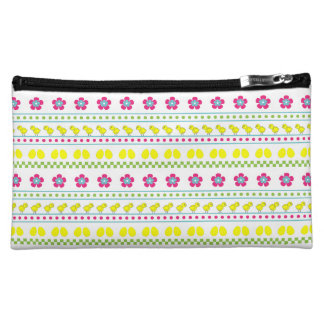 Easter pattern with chiken and eggs on white cosmetic bag