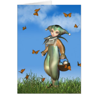 Easter Pierrot Clown Doll with Butterflies Card