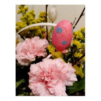 Easter Pink Carnation Floral Egg Basket jjhelene Postcard