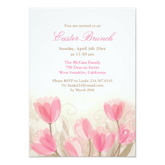 "Easter Pink Tulips Flowers Flat Card 5"" X 7"" Invitation Card"