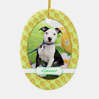 Easter - Pitbull  - Gunner Ceramic Ornament